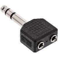 InLine 99304 InLine® Audio Adapter, 6,3mm Klinke Stecker Stereo an 2x 3,5mm Klinke Buchse, Stereo