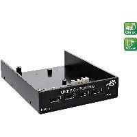 """InLine 33393B InLine® USB 2.0 Hub, 4-fach für den 8,89cm (3,5"""") Schacht, schwarz"""