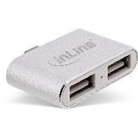 InLine 33291I InLine® Mini USB 2.0 Hub, USB Typ-C Stecker auf 2x USB A Buchse, silber