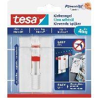 tesa 77767-00000-00 tesa Klebenagel, 2 Stück, für Fliesen und Metall, bis zu 4kg pro Nagel, verstell