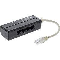 InLine 69995A InLine® 4-fach Telefon Port Splitter, RJ45 Stecker an 4x RJ45 Buchse, 0,15m