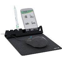 InLine 55261 InLine® Multifunktions-Mauspad mit Smartphone- und Stiftehalter, schwarz, faltbar