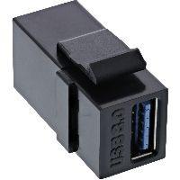 InLine 76202L InLine® USB 3.0 Keystone Snap-In Einsatz, USB-A Buchse / Buchse, schwarz