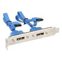 InLine 27904 InLine® eSATA Slotblech, 2x eSATA Buchse extern auf intern SATA Stecker, 0,3m
