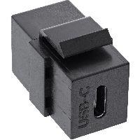 InLine 76201Z USB 3.1 Snap-In Einsatz, USB-C Buchse / Buchse, schwarz