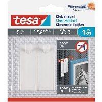 tesa 77773-00000-00 tesa Klebenagel, 2 Stück, für Tapeten und Putz, bis zu 1kg pro Nagel, weiß