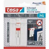 tesa 77777-00000-00 tesa Klebenagel, 2 Stück, für Tapeten und Putz, bis zu 2kg pro Nagel, verstellba