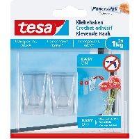tesa 77735-00000-00 tesa Klebehaken, 2 Stück, für transparente Oberflächen und Glas, bis zu 1kg pro