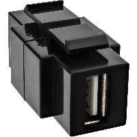 InLine 76201T USB 2.0 Snap-In Einsatz, USB A Buchse/ B Buchse, schwarzes Gehäuse