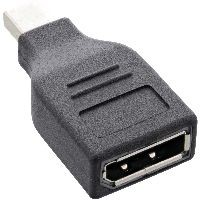 InLine 17196B InLine® DisplayPort Adapter, mini DisplayPort Stecker auf DisplayPort Buchse, 4K/60Hz,